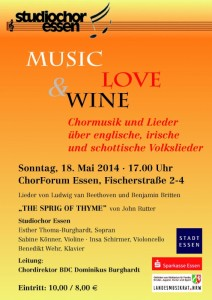 Konzertplakat Konzert Music, Wine & Lovesic, Wine & Love