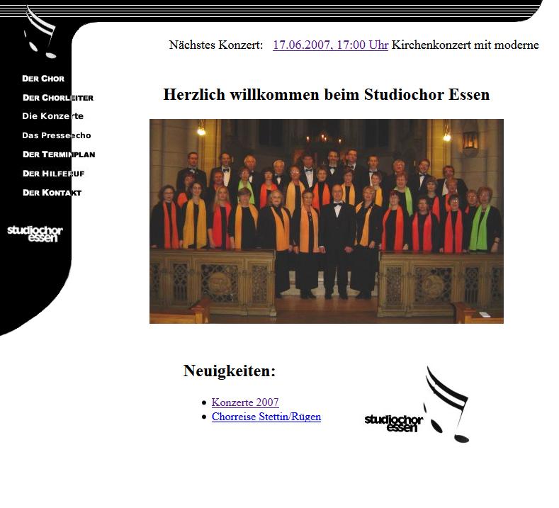 Der erste Internet-Auftritt des Studiochores